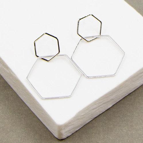 Double Open Hexagon Earrings