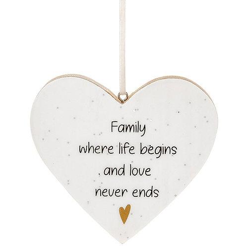 Glitter Words Hanging Heart Sign | Family