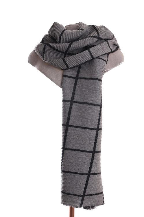 Pleated Warm Check Grey Scarf