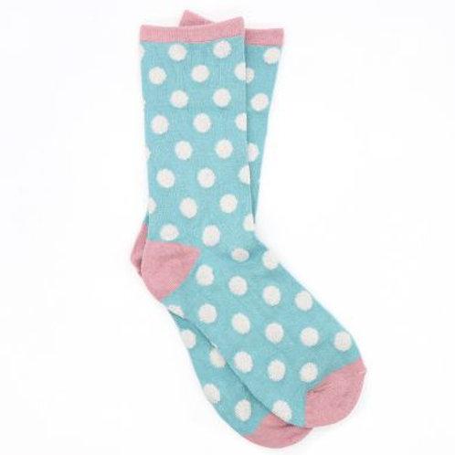 Bamboo Blue Socks With Polkdots