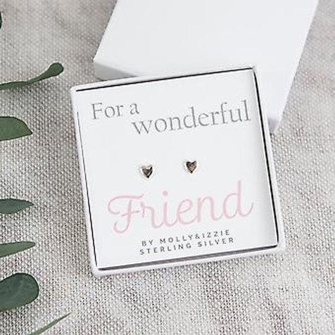 For A Wonderful Friend - Sterling Silver Heart Studs