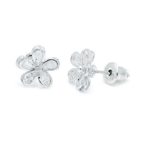 Cubic Zirconia Flower Earrings
