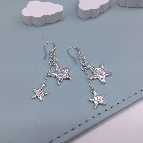 Double Star Chain Earrings