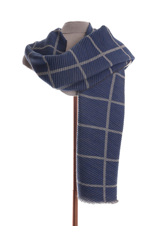 Pleated Warm Check Blue Scarf