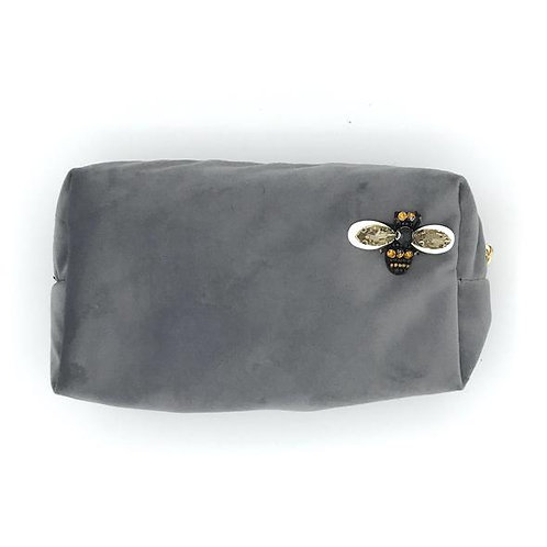 Velvet Make Up Bag With Sparkly Bee Pin - Grey