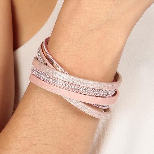 5 Crossed Row Pink Colour Wrap Bracelet