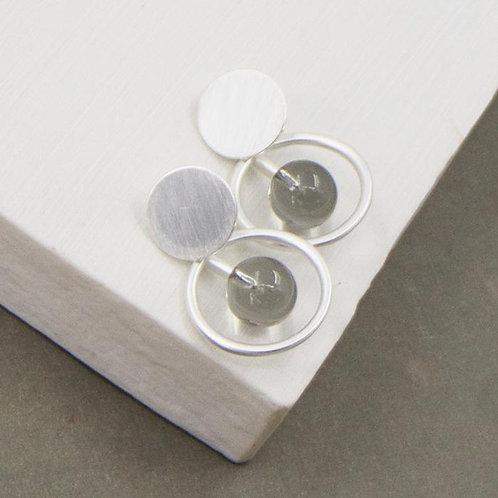 Disc Hoop Bar & Resin Bar Earrings