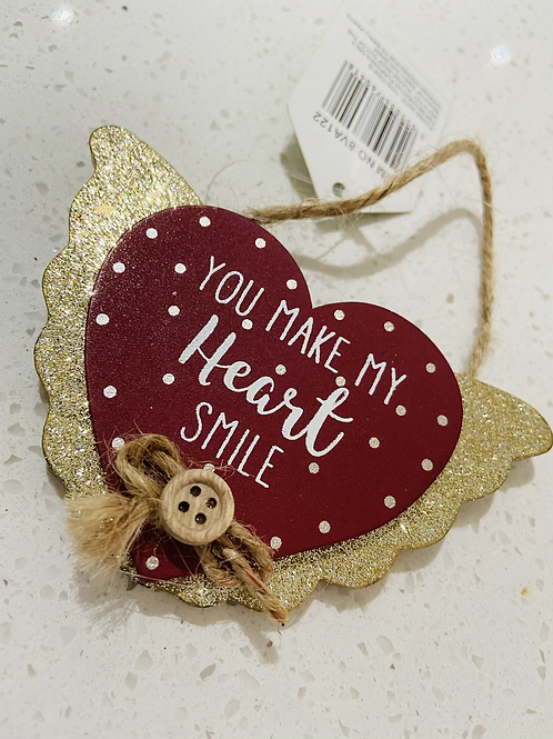 Glitter Red Hanging Heart Signs   You Make My Heart Smile