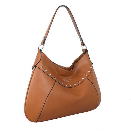 Red Cuckoo Tan Studded Shoulder Bag
