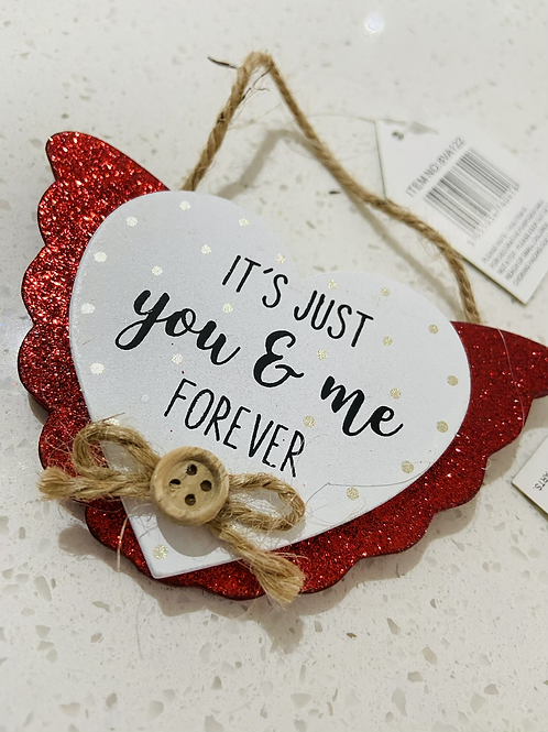 Glitter Red Hanging Heart Signs   You & Me Forever