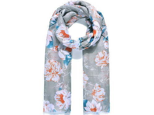 Grey Delicate Floral Print Scarf