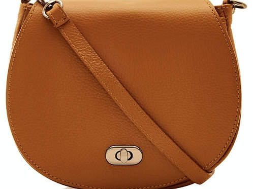 Genuine Leather Saddle Crossbody Bag - Tan