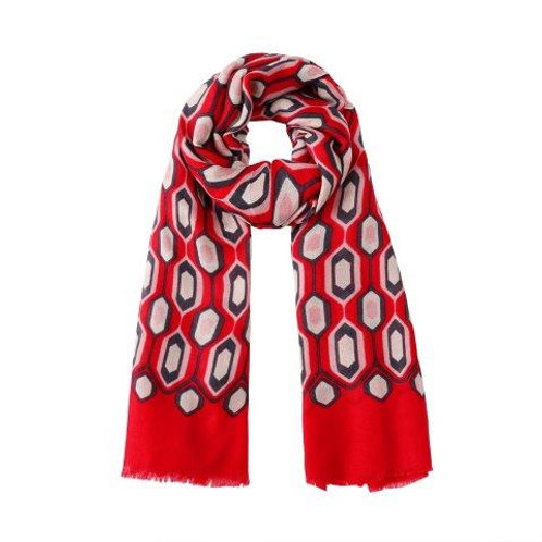 Geometry Print Scarf Honey Comb- Red