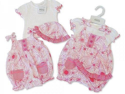BABY GIRLS 3PC DUNGAREE SET - PINK FLOWER