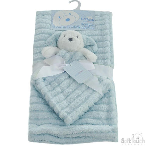 Blue Striped Super Plush Wrap With Puppy/Comforter