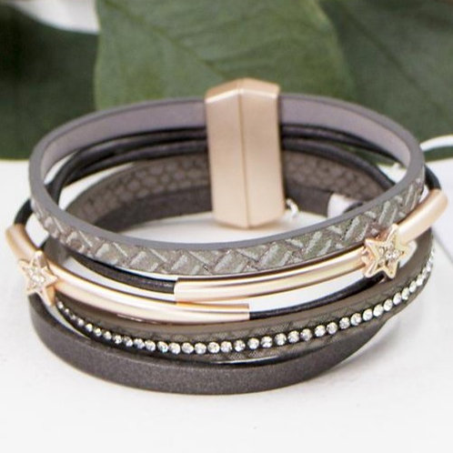Multi Strand Leather Bracelet With Star Motifs And Crystals