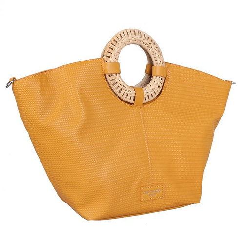 Red Cuckoo Yellow Tote with Wicker Handle