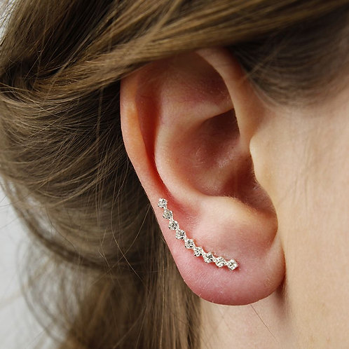 Sterling Silver Single Row Crystal Earlines