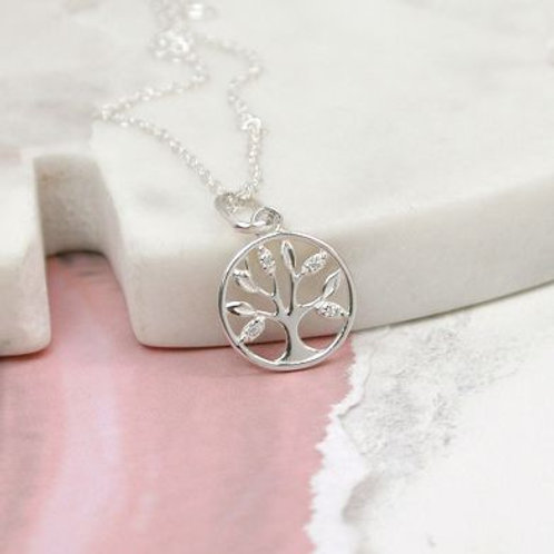 Sterling Silver Tree Of Life Crystal Necklace