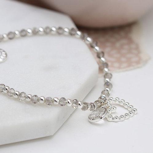 Smokey Bead Bracelet With Heart Charm