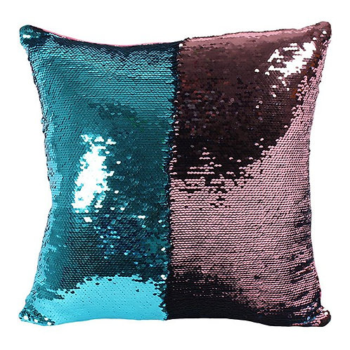 Reversible Blue & Pink Sequin Filled Cushion