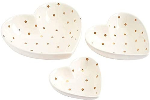 Set Of 3 Chloe Gold Polka Dot Heart Dishes