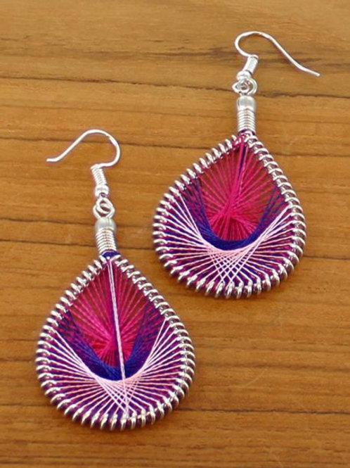 Teardrop Thread Earrings Pink