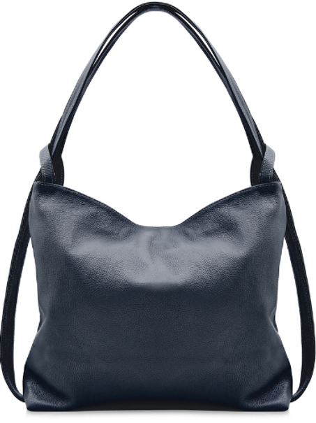 Leather Backpack/Shoulder Bag | Navy