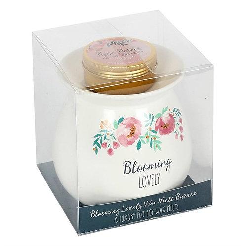 Large Blooming Lovely Wax Melt Burner Set