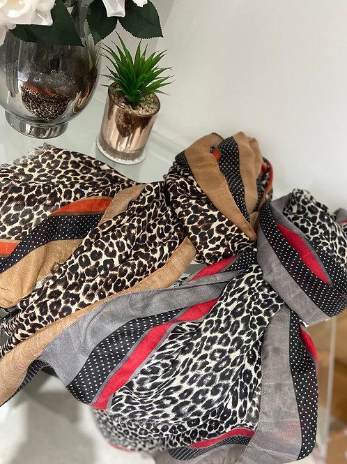 Leopard & Dots Print Scarf | Orange