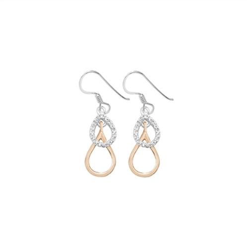 Sterling Silver Two Tone Drop Earrings