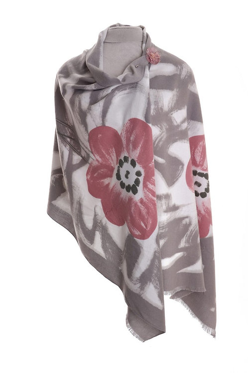 Soft Wrap Scarf Daisy Print | Grey