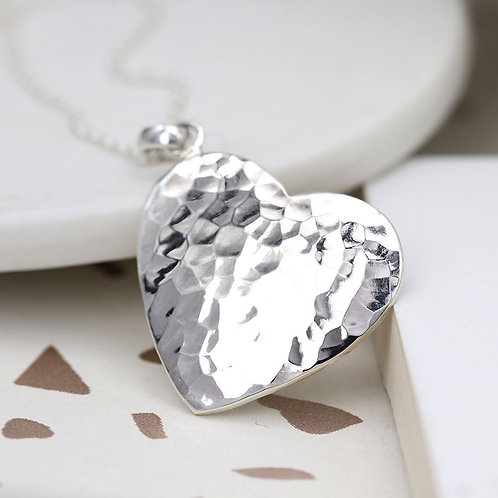 Sterling Silver Large Hammered Heart Necklace