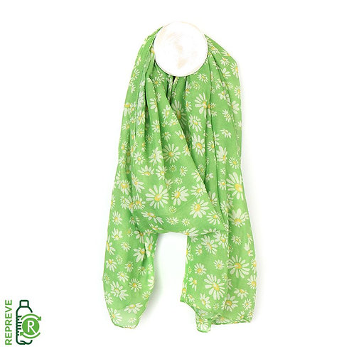 Recycled Green Daisy Print Scarf
