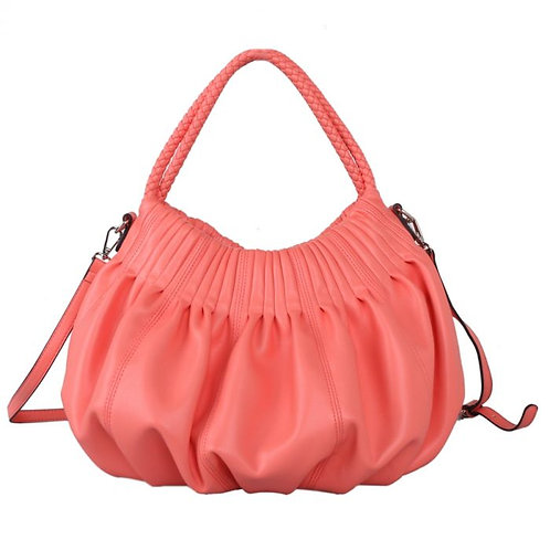 Red Cuckoo Coral Soft to touch Shoulder Bag with Braided Straps Fully Lined