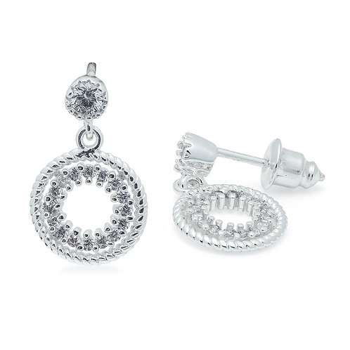 Cubic Zirconia Round Drop Earrings