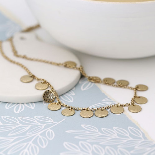 Worn Gold Hammered Disc Necklace