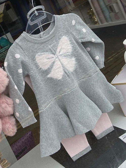 Newborn Pink & Grey Bow Dress & Leggings Set
