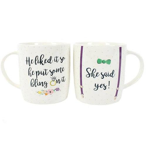 Set of 2 She Said Yes Mugs