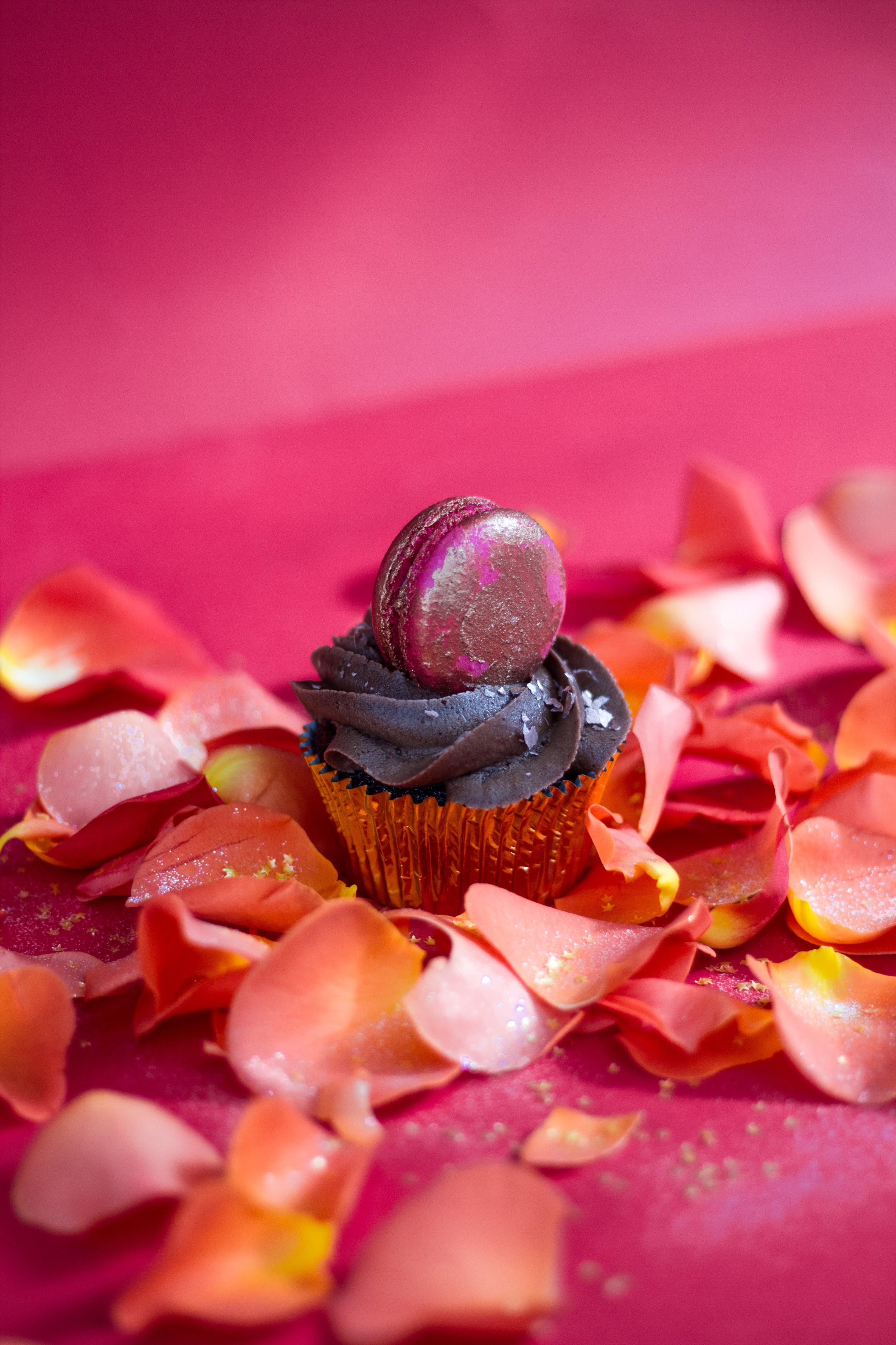 Macaron topped chocolate cupcake