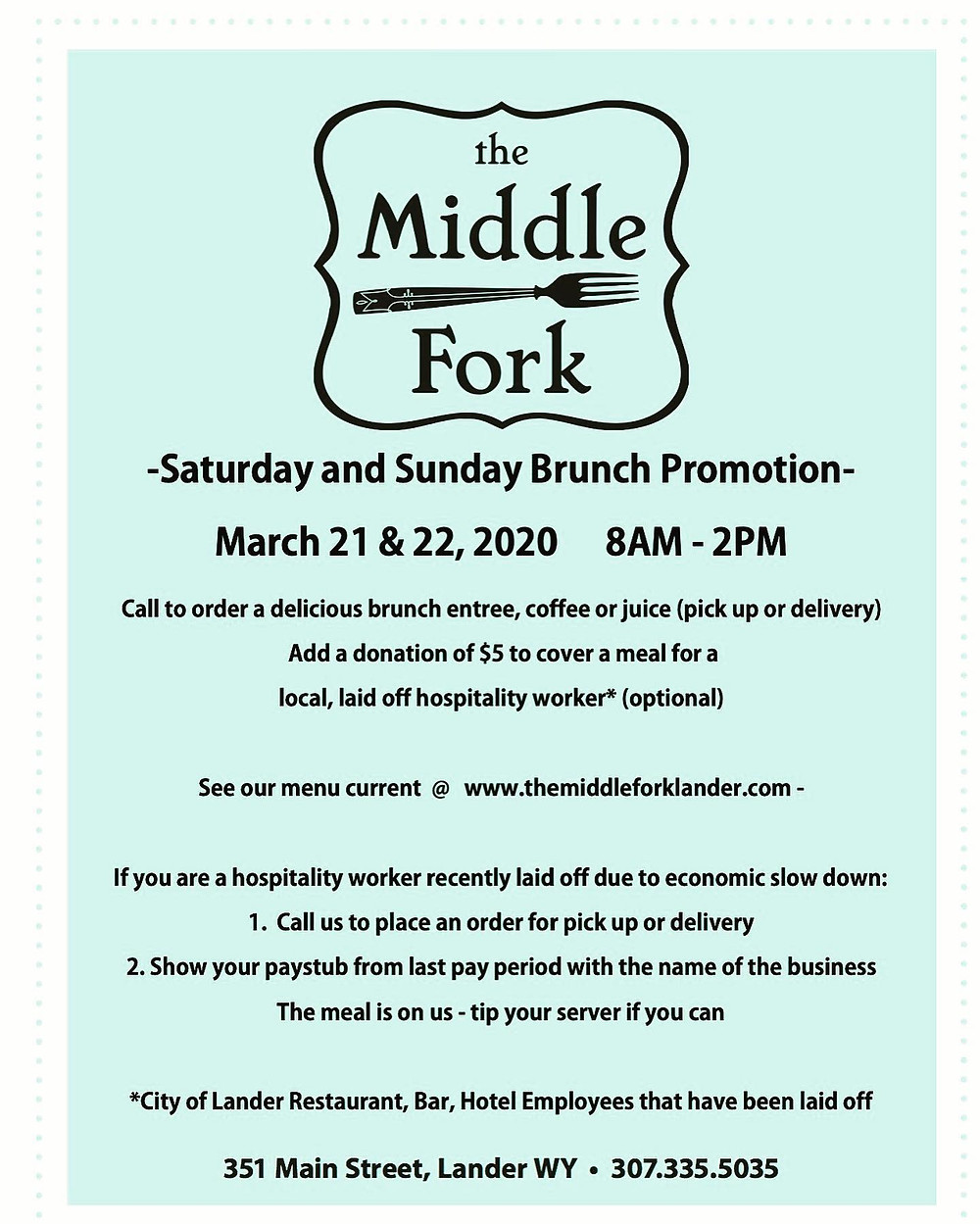 Middle Fork Brunch Promotion