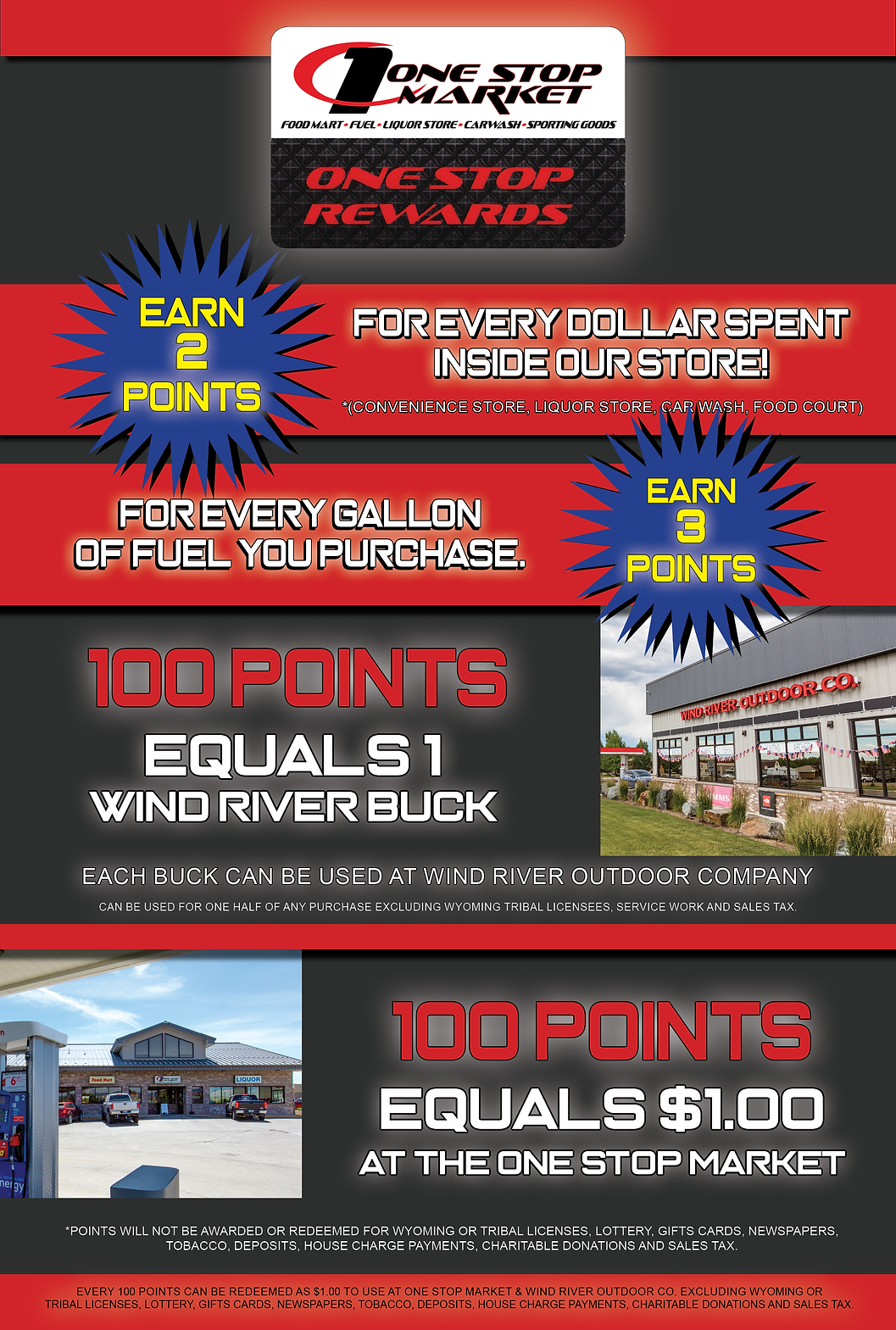 One Stop Market, Food Mart, Liquor Store, Earn 2 points for every dollar spent inside our store! (convenience store liquor store car wash food court, Earn 3 points for every gallon of fuel you purchase) 100 Points equals 1 wind river buck. each buck can be used at wind river outdoor company. Wind River Bucks can be used for any one-half purcahse excluding Wyoming Tribal Licenses, Service work, and sales tax. 100 points also equals $100 at the one stop market. Points will not be awarded or redeemed for Wyoming or Tribal Licenses, Lottery, Gift Cards, Newspapers, Tobacco, Deposits, House Charge Payments, Charitable Donations and sales tax. Every 100 points can be redeemed as $1.00 to use at one stop market and Wind River Outdoor Compant Exclusing Wyoming or Tribal Licenses, Lottery, Gift Cards, Newspapers, Tobacco, Deposit, House Charge Payments, Charitable Donations and Sales Tax. IT'S THE FASTEST WAY TO EARN REWARDS ON EVERY PURCHASE YOU MAKE! One Stop Market rewards is a loyalty prgm.
