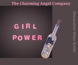 Girl power decorative wine bottle