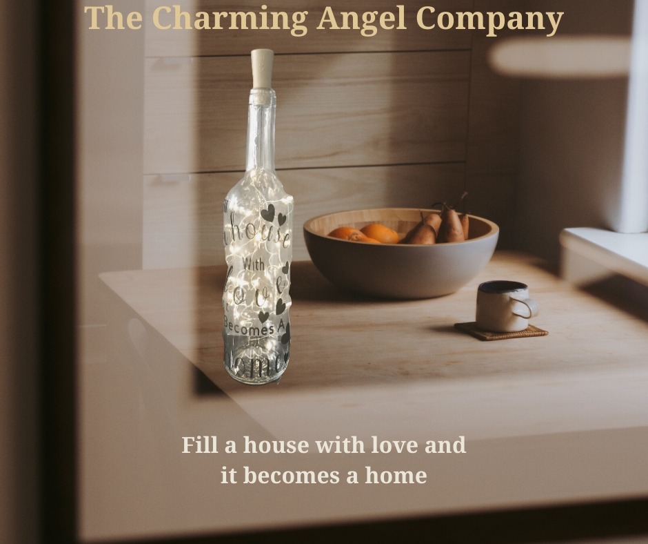 Fill a house with love decorative wine bottle
