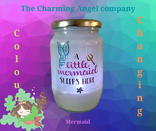 Mermaid Colour Changing Night Light Jar