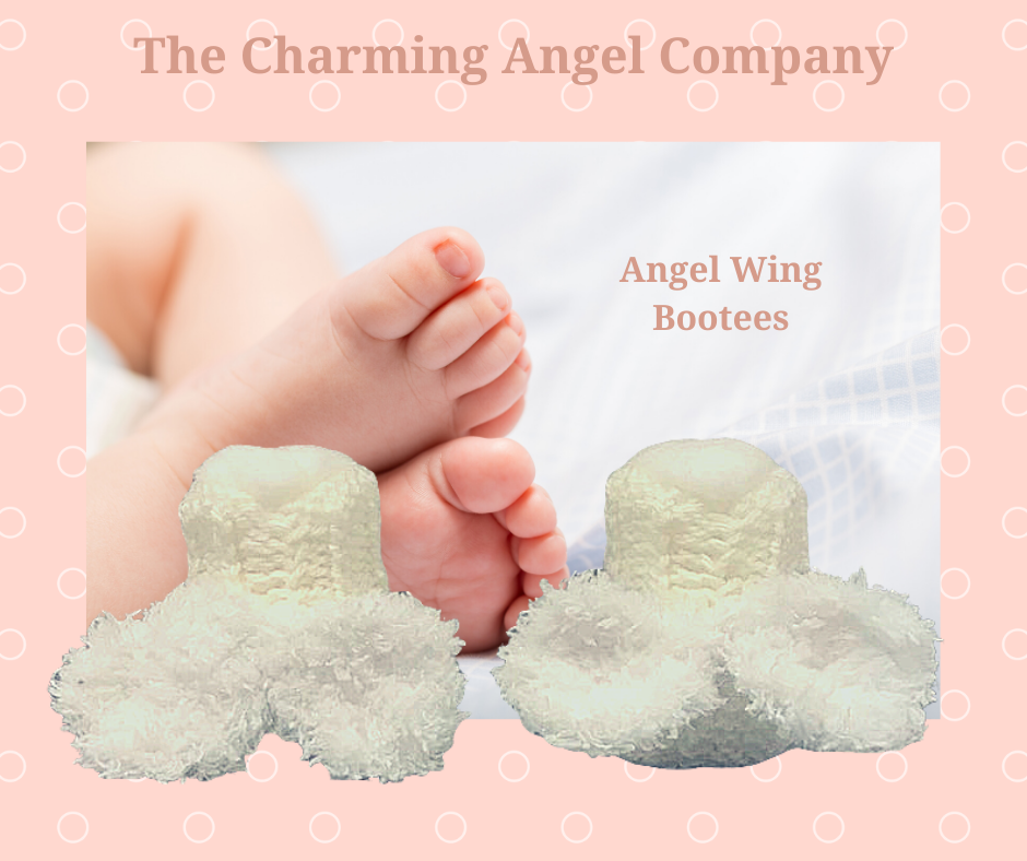 Angel wing baby bootees