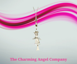 Silver beaded initial angel charm