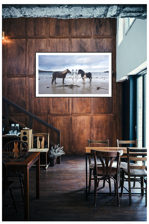 Framed horses by the sea 70x100cm