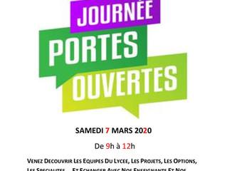 JPO 7 mars 2020 : Journées Portes Ouvertes de la cité scolaire