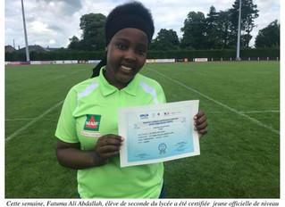 Fatuma, élève de 2nde, certifiée arbitre nationale UNSS Rugby